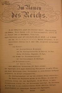 Guilty verdict in the case of Robert Neumann before the German Reichsgericht (Supreme Court)