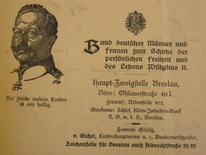 Letter from the Breslau office of the League of German Men and Women for the Protection of the Personal Freedom and Life of Wilhelm II to Reichspräsident Friedrich Ebert, 23. August 1919.